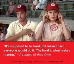 Tom Hanks as Jimmy Dugan (manager) and Geena Davis as Dottie Hinson All American Girl, American Actors, Iconic Movies, Good Movies, Baseball Movies, Baseball Stuff, Rockford Peaches, No Crying In Baseball, Geena Davis