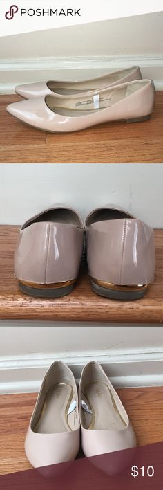 Nude Pointed Flats Nude Pointed flats, patent leather. Worn a few times, no damage. Mossimo Supply Co Shoes Flats & Loafers