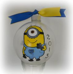Personalized Hand painted Minion Christmas ornament on Etsy, $24.99