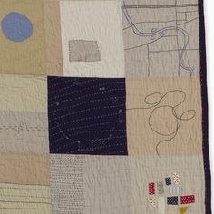 """Places Unfold,"" detail, Heidi Parkes.  Quilt, art, embroidery, constelations, train, Naperville map."