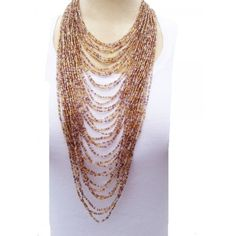 seed beaded jewelry | Purple Gold & Clear 40 Strand Seed Bead Necklace - Accents of Elegance