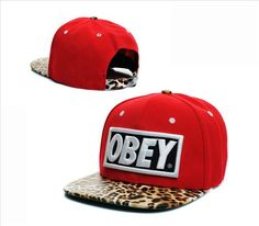 OBEY Leopard Red Snapback Hat