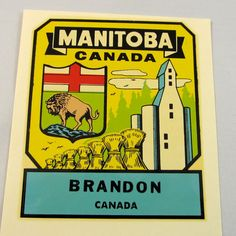 Vintage Souvenir Travel Decal, Brandon Manitoba, Canada, Automotive, Memorabilia, 1950's, Water Dip,Vacation, Road Trip Souvenir