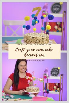 With a small number of supplies, you can create these DIY cake decorations and surprise your family and friends. ❗ Site available on Romanian territory only. Diy Craft Projects, Diy Crafts, Diy Cake, Cake Decorations, Number, Create, Friends, Amigos, Cakes