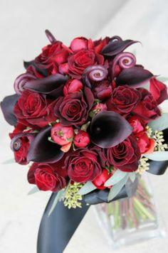 love the fiddlehead ferns, black magic roses and chocolate callas; so rich!