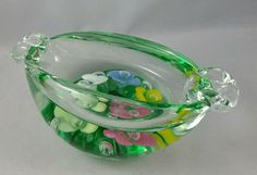 Vintage Murano Art Glass Ashtray With Hand Painted Flowers, Vintage Venetian Glass, Collectible Ashtray, Glass Paperweight by EmptyNestVintage on Etsy
