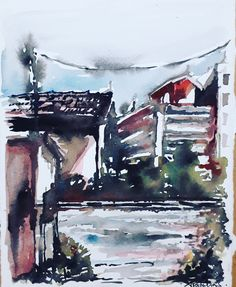 Patras, Greece, near the old railway station, Watercolor Patras, Greece, Old Things, Watercolor, Abstract, Artwork, Greece Country, Pen And Wash, Summary