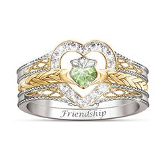 Irish Claddagh Stacking Ring: Bradford Exchange Heart Shaped Irish... ($129) ❤ liked on Polyvore featuring jewelry, rings, crown ring, stackable band rings, heart crown ring, heart ring and stackable rings