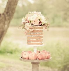 Naked cakes are the latest confection craze! These beauties prove that you don't need frosting to make it fabulous. What do you think of this growing trend?  Photo via Sweet Style, cake design by Crumbs of Comfort Cake Design