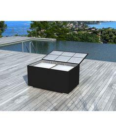 Table aluminium plateau verre fumé RALLONGE PAPILLON 180/240 cm ...