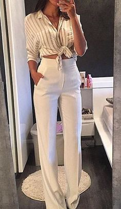 Classic white pants, striped top women fashion outfit clothing style apparel @roressclothes closet ideas
