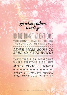 Go where others won't go. Do the thing that isn't done. You don't have to follow the formula they gave you. Leave more room to spread your wings. Take the risk of going where everyone else isn't most people don't. That's why it's often the best place to be.