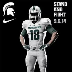 Possible Mich State uni vs Oregon - I'm a sucker for sweetly designed Storm Trooper unis Msu Football, Michigan State Football, College Football Teams, Football Uniforms, Michigan State University, Football Helmets, Msu Spartans, Sports Graphics, Go Green