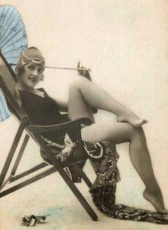 Lady on a beach 20s.