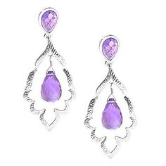 """JOYA by Judy Crowell Sterling Silver 1.75"""" Briolette & Pear Shaped Gemstone Dangle Earrings - 143-646  Retail Value:  $128.00 EVINE Price: $85.00  or  6   ValuePay®:    $14.17 Shipping & Handling: $5.99 Select Color: AQUA CHALCEDONY"""
