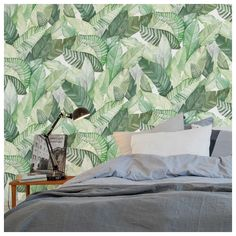 Papier peint - Coordonné - Banano - Vert et blanc Decor, Sweet Home, Sheets, Tropical Bedrooms, Bed, Furniture, New Homes, Interior Design, Home Decor