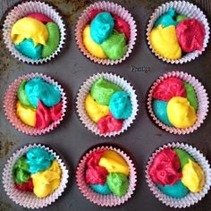 Foodie Quine: Rainbow Cakes & Stamped Biscuits for GBBO Comic Relief Rainbow Cupcakes, Rainbow Food, Party Cupcakes, Rainbow Birthday Party, Fairy Birthday, 7th Birthday, Red Nose Day Cakes, Rainbow Fairies, Novelty Birthday Cakes