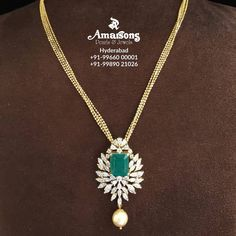 Emerald Jewelry, Gold Jewelry, Black Diamond Jewelry, Diamond Jewellery, Jewelery, Gold Chain With Pendant, Diamond Pendant, Gold Pendants, Gold Chain Design
