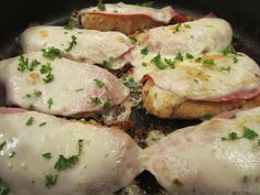 "SKILLET CHICKEN CORDON BLEU: THE PEPPER JACK VERSION ~ This easy dish is impressive, not only in presentation but taste. Though I usually use chicken tenderloins in place of whole chicken breasts since tenderloins are more forgiving when it comes to ""moist and tender,"" use whichever you like (though I would give whole breasts a good pounding to thin them a bit). As for the Pepper Jack cheese, it's every bit as good as mozzarella–in a different way, of course. Enjoy!"