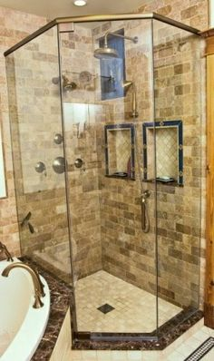 brick shower tile | Great brick and tile work in the shower! | Bathrooms