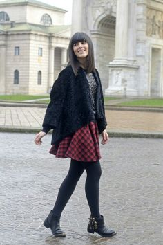 Check skirt sequins sweater faux fur jacket