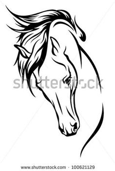 horse head with flying mane vector illustration - stock vector