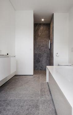 large gray tiles + white trim