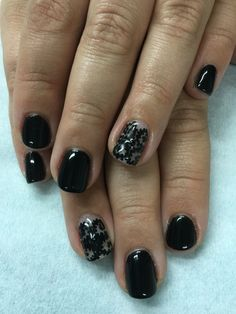 Elegant black lace/baroque gel polish over non-toxic odorless hard gel nails.
