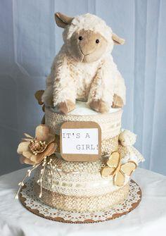 Vintage Lamb Diaper Cake by MckayCakesnCrafts on Etsy