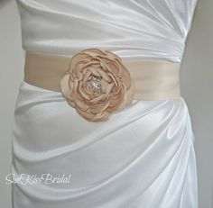 Simple Bridal Sash with Flower and CrystalsSatin by SunKissBridal, $35.00