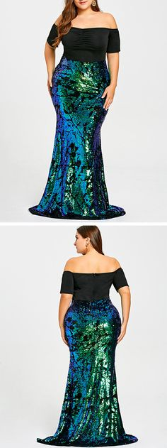 Plus Size Sequined Mermaid Prom Dress.Free Shipping Worldwide.