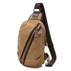 Sale 15% (14.23$) - Men Canvas Casual Small Outdoor Zipper Black Coffee Khaki Shoulder Crossbody Bag
