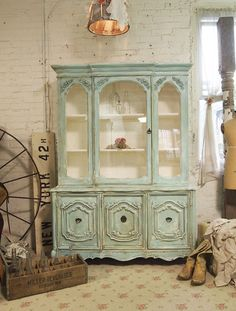 Painted Cottage Chic Shabby Aqua China Cabinet  by paintedcottages, $595.00