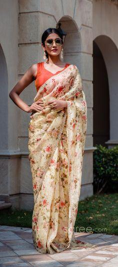 Half Saree Lehenga, Wedding Sari, Party Wear Sarees, Indian Sarees, Floral Prints, How To Wear, Color, Style, Fashion