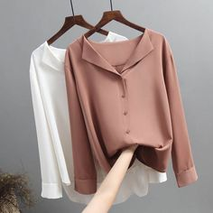Casual Solid Female Shirts Outwear Tops 2019 Autumn New Women Chiffon Blouse Office Lady V-neck Button Loose Clothing 5104 50 - halfpricefactory Office Ladies, Blouse Designs, Shirt Blouses, Women's Blouses, Blouses For Women, Chiffon Tops, Chiffon Shirt, Trends, Models