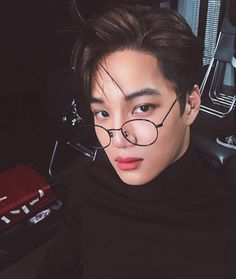 exo in - kim jongin by яσcкs✞αя on We Heart It kai hot selca glasses Exo Kai, Baekhyun, Kaisoo, Chanbaek, D O Exo, Bts And Exo, Saranghae, Do Kyung Soo, Kris Wu