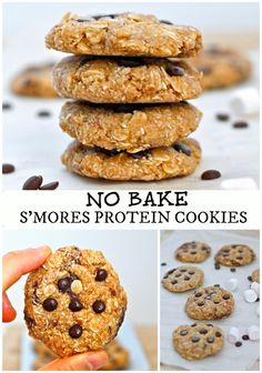 No Bake S'mores Protein Cookies- High in protein, ready to whip up in 5 minutes and all the flavour of a S'mores bar minus the guilt! Gluten Free and perfect for breakfast!