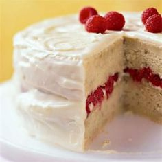 Banana-Raspberry Cake with Lemon Frosting | CookingLight.com