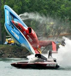 Hydroplane crash, Matrix Systems has a blowover next to Jarvis, classic unlimited class hydroplane hydroplanes hydro hydros racing boat boats