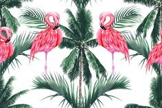 Pink flamingos,palm trees pattern by Tropicana on @creativemarket