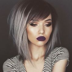 25 Silver Hair Color Looks that are Absolutely Gorgeous – Balayage Haare Medium Hair Styles, Short Hair Styles, Medium Bob With Side Bangs, Medium Length Hair With Layers And Side Bangs, Medium Choppy Bob, Bobs For Thick Hair, Bob With Side Fringe, Sweeping Fringe, Colorful Hair