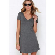 Better Together Grey Shirt Dress ($33) ❤ liked on Polyvore featuring dresses, grey, lulu's dresses, grey dress, curved hem dress, t-shirt dresses and gray t-shirt dresses