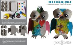 egg carton owl kid craft --- googly eyes inside the egg carton cups and glue them to construction paper bodies that they can cut out and decorate w/feathers Kids Crafts, Owl Crafts, Craft Activities For Kids, Crafts To Do, Craft Ideas, Egg Carton Art, Egg Carton Crafts, Egg Cartons, Recycled Art Projects