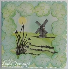 Windmil Flower card using Floral Framer mask by SplodgeAway and Stamps by Clarity Stamp