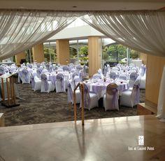 purple & white wedding reception