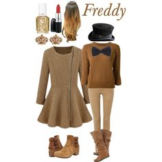 FNAF- Freddy by living-in-a-small-world on Polyvore featuring Belleza, MAC Cosmetics, Essie, Juicy Couture, MARC BY MARC JACOBS, Polo Ralph Lauren, UGG Australia, fivenightsatfreddy and LIASW