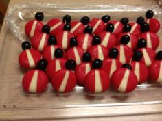 Baby bell cheese lady bugs with olives. Bug party food. Kids treats.  Insect themed party.
