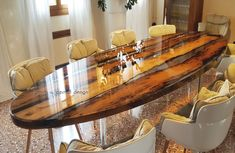 Resin and wood room divider MOOD By Azimut-Resine Outdoor Wood Table, Diy Dining Table, Dining Table Design, Oval Table, Resin Table Top, Wood Resin Table, Resin Furniture, Cool Furniture, Furniture Design