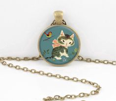 Little Golden Book Kitten Vintage Cat Art  Pendant Necklace by northstarpendants. Explore more products on http://northstarpendants.etsy.com