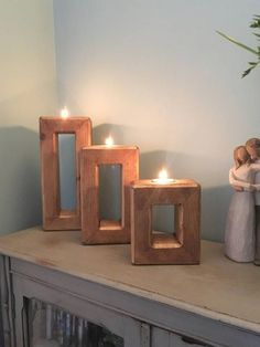 Harriet Frame Candle Holders The Harriet frame candle holders are full of rustic charm with a contemporary twist. This trio includes the tealights. Large height 26cm Medium height 20cm Small height 14cm All 3 are 11.5cm wide and 7cm deep #WoodworkingProjectsCandleHolder